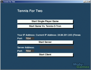 Tennis for Two Simulator