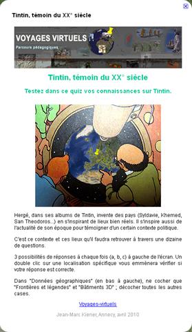 Tintin, témoin du XX° siècle